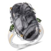 Austrian Pinolith, Russian Diopside 14K YG and Platinum Over Sterling Silver Ring (Size 7.0) TGW 27.35 cts.
