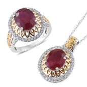 Niassa Ruby, Cambodian Zircon 14K YG and Platinum Over Sterling Silver Ring (Size 7) and Pendant With Chain (20 in) TGW 15.40 cts.