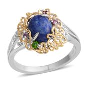 Lapis Lazuli, Multi Gemstone 14K YG Over and Sterling Silver Ring (Size 5.0) TGW 2.27 cts.