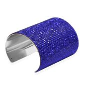 Blue Austrian Crystal Silvertone Elongated Cuff (7 in)