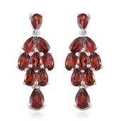 Mozambique Garnet Platinum Over Sterling Silver Earrings TGW 5.44 cts.