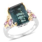 Belgian Teal Fluorite, Madagascar Pink Sapphire 14K YG and Platinum Over Sterling Silver Ring (Size 10.0) 0 TGW 9.90 cts.