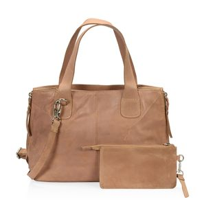 Wheat Genuine Leather RFID Shoulder Bag (16x5x9 in) with Removeable Matching Clutch (7.5x4 in)
