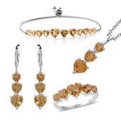 Brazilian Citrine Sterling Silver Bolo Bracelet (Adjustable), Lever Back Earrings, Ring (Size 5) and Pendant With Stainless Steel Chain (20.00 In) TGW 12.10 cts.