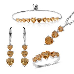 Brazilian Citrine Sterling Silver Bolo Bracelet (Adjustable), Lever Back Earrings, Ring (Size 7) and Pendant With Stainless Steel Chain (20.00 In) TGW 12.10 cts.