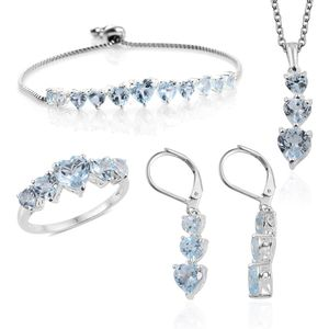 Sky Blue Topaz Sterling Silver Bolo Bracelet (Adjustable), Earrings, Ring (Size 5) and Pendant With Stainless Steel Chain (20.00 In) TGW 15.96 cts.