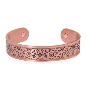 Magnetic Jewelry Rosetone Opem Cuff Bangle (7.50 in)