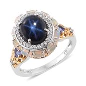 Thai Blue Star Sapphire, Multi Gemstone 14K YG and Platinum Over Sterling Silver Ring (Size 6.0) TGW 7.95 cts.