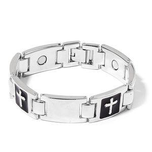 Magnetic Jewelry Silvertone Enameled Bracelet (7.00 In)