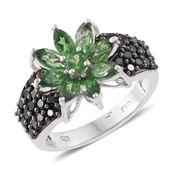 Emeraldine Apatite, Thai Black Spinel Platinum Over Sterling Silver Sunflower Ring (Size 5.0) TGW 4.17 cts.
