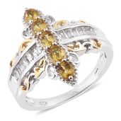 Marialite, White Topaz 14K YG and Platinum Over Sterling Silver Ring (Size 9.0) TGW 1.82 cts.
