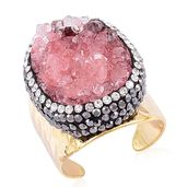 Red Drusy Quartz, Gray and White Austrian Crystal ION Plated YG Stainless Steel Elongated Hammered Ring (Size 8.0) TGW 3.10 cts.
