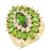 Russian Diopside, White Zircon 14K YG Over Sterling Silver Ring (Size 6.0) TGW 4.35 cts.