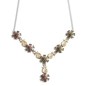 Bekily Color Change Garnet 14K YG and Platinum Over Sterling Silver Floral Necklace (18 in) TGW 8.66 cts.