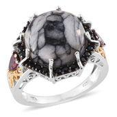 Austrian Pinolith, Orissa Rhodolite Garnet, Thai Black Spinel 14K YG and Platinum Over Sterling Silver Ring (Size 8.0) TGW 15.60 cts.
