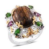 Australian Goldflake Feldspar, Multi Gemstone 14K YG and Platinum Over Sterling Silver Ring (Size 6.0) TGW 13.91 cts.