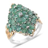 Kagem Zambian Emerald, Cambodian Zircon 14K YG and Platinum Over Sterling Silver Ring (Size 9.0) TGW 4.22 cts.