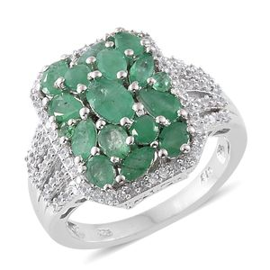 Kagem Zambian Emerald, Cambodian Zircon Platinum Over Sterling Silver Cluster Ring (Size 8.0) TGW 3.65 cts.
