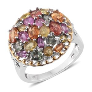 Orange Sapphire, Multi Gemstone, Diamond Accent 14K YG and Platinum Over Sterling Silver Ring (Size 6.0) TGW 4.45 cts.