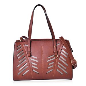 Brown Faux Leather Laser Cut Tote Bag (13x5x10 in)