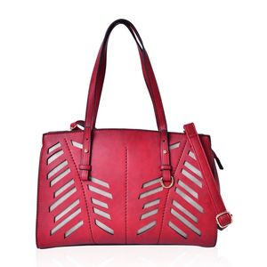 Red Faux Leather Laser Cut Tote Bag (13x5x10 in)