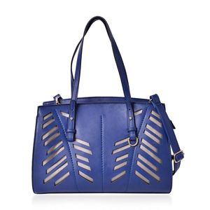 Blue Faux Leather Laser Cut Tote Bag (13x5x10 in)