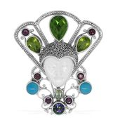 Bali Goddess Collection Carved Bone, Multi Gemstone Sterling Silver Queen of the Ball Pendant without Chain TGW 15.11 cts.