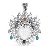 Bali Goddess Collection Carved Bone, Multi Gemstone Sterling Silver Pendant without Chain TGW 1.48 cts.