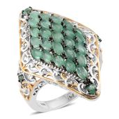 Kagem Zambian Emerald 14K YG and Platinum Over Sterling Silver Elongated Cocktail Ring (Size 6.0) TGW 3.63 cts.