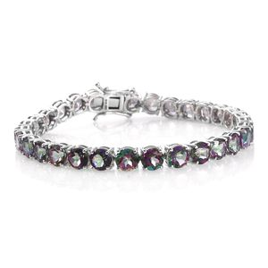 Northern Lights Mystic Topaz Platinum Over Sterling Silver Tennis Bracelet (7.50 In) TGW 29.40 cts.