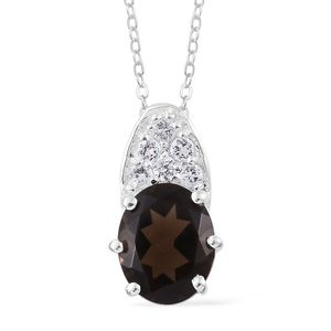 Brazilian Smoky Quartz, White Topaz Sterling Silver Pendant With Stainless Steel Chain (20 in) TGW 3.45 cts.