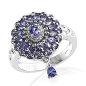 Premium AAA Tanzanite, Cambodian Zircon Platinum Over Sterling Silver Pierced Drop Charm Ring (Size 7.0) TGW 2.35 cts.