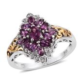 Deepak Dazzling Deals Purple Garnet, Cambodian Zircon 14K YG and Platinum Over Sterling Silver Ring (Size 7.0) TGW 1.71 cts.