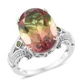 Rainbow Genesis Quartz, Russian Diopside, Cambodian Zircon Platinum Over Sterling Silver Ring (Size 11.0) TGW 15.00 cts.