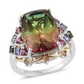 Rainbow Genesis Quartz, Multi Gemstone 14K YG and Platinum Over Sterling Silver Ring (Size 7.0) TGW 12.02 cts.