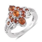 Orange Sapphire, Cambodian Zircon Platinum Over Sterling Silver Ring (Size 8.0) TGW 1.78 cts.