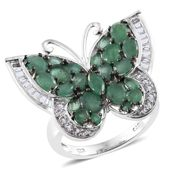 Kagem Zambian Emerald, White Topaz Platinum Over Sterling Silver Butterfly Ring (Size 6.0) TGW 4.86 cts.