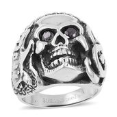 Simulated Black Diamond Black Oxidized Stainless Steel Skull Men's Ring (Size 10.0) TGW 0.50 cts.