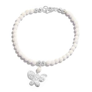 Quartzite Platinum Over Sterling Silver Bracelet with Butterfly Charm Total Gem Stone Weight 20.00 Carat (7.50 In)