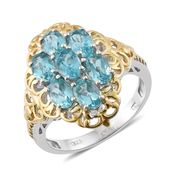 Madagascar Paraiba Apatite 14K YG and Platinum Over Sterling Silver Ring (Size 10.0) TGW 3.46 cts.