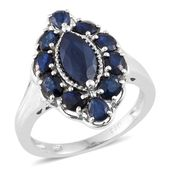 Kanchanaburi Blue Sapphire Platinum Over Sterling Silver Ring (Size 5.0) TGW 4.62 cts.