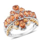 Orange Sapphire 14K YG and Platinum Over Sterling Silver Ring (Size 6.0) TGW 4.08 cts.