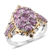 Madagascar Pink Sapphire, Cambodian Zircon 14K YG and Platinum Over Sterling Silver Ring (Size 7.0) TGW 2.28 cts.