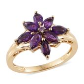 Lusaka Amethyst 14K YG Over Sterling Silver Ring (Size 9.0) TGW 2.13 cts.