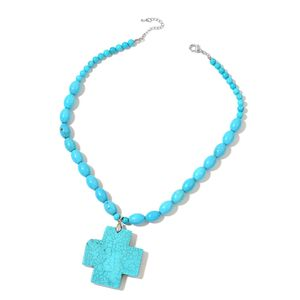Magnesite Silvertone Cross Pendant With Necklace (18 in) TGW 436.50 cts.