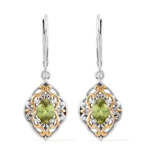 Madagascar Sphene 14K YG and Platinum Over Sterling Silver Lever Back Earrings TGW 1.28 cts.
