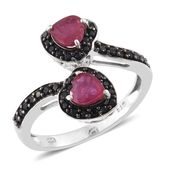 Niassa Ruby, Thai Black Spinel Black Rhodium & Platinum Over Sterling Silver Heart Bypass Ring (Size 8.0) TGW 2.40 cts.
