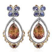Rainbow Genesis Quartz, Multi Gemstone 14K YG and Platinum Over Sterling Silver Earrings TGW 15.34 cts.