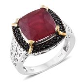 Niassa Ruby, Thai Black Spinel Black Rhodium, 14K YG and Platinum Over Sterling Silver Ring (Size 7.0) TGW 8.63 cts.