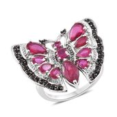 Niassa Ruby, Thai Black Spinel Platinum Over Sterling Silver Butterfly Ring (Size 7.0) TGW 6.63 cts.